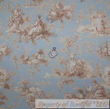 BonEful Fabric FQ Cotton Decor VTG Blue Tan Off White VTG Antique Flower Toile S