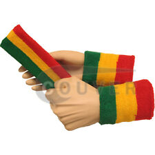 Couver Green Yellow Red Striped Headband Wristband Set