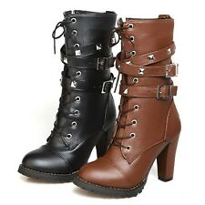 Army Shoes womens Gothic Faux Leather Ladies Lace Up Chunky Oxford Boots UK 1-12
