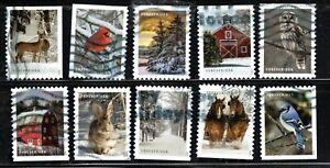 2020 Sc #5532-5540 Winter Scenes - Set of 10 Canceled off paper