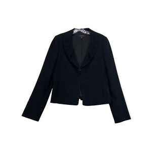 Ann Taylor Peplum Hem Blazer Solid Black Collar V Neck Fitted Womens 8