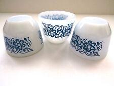 3 Blue White Custard Cups Federal Milk Glass Small Serving Bowl Dish Tulips EUC