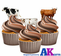 PRECUT Farm Animals Cow 12 Edible Cupcake Toppers Cake Decorations Birthdays
