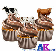 PRECUT Farm Animals Cow 12 Edible Cupcake Toppers Cake Decorations Birthdays