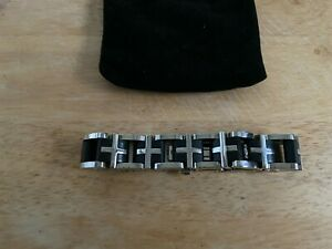 Stacy Adams men's stainless steel & ceramic heavy bracelet one size fits all