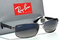 NEW* Ray Ban Gunmetal & Black w POLARIZED Grey Blue Lens Sunglass RB 3478 004