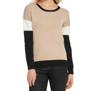 DKNY Womens Tan Colorblock Pullover Shirt Crewneck Sweater Top XL BHFO 5911