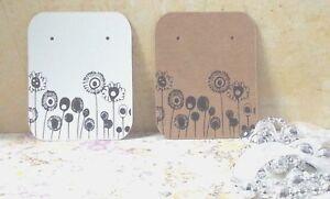 10/50/100 Earring Display Cards Jewellery Studs - Kraft Brown/White B&W Flowers