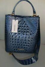 NWT BRAHMIN Amelia Bucket Bag w/Shoulder Strap in Aquarius Embossed Leather