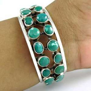 Oval Shape Turquoise Gemstone Bangle 925 Solid Sterling Silver Jewelry G76