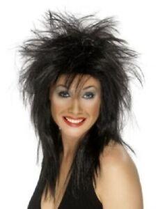 Black Punk Rock Diva Mullet Wig Fancy Dress Accessory Unisex New