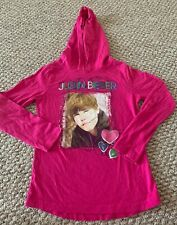 Girls Justin Bieber long sleeve shirt 2010 pink hooded 7/8