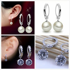 Classic 925 sterling silver hanging crystal / pearl earrings, multiple choices