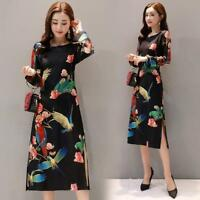 Womens Retro Floral Printing Dress Split Casual Ethnic Style Qipao Party Slim