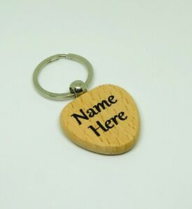 Personalised Keyring Engraved Wooden Heart Shaped | Gift