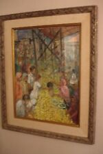 20th century painting market scene signed Rubi Roth