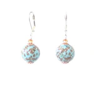Italian Murano Glass Turquoise Copper Silver Earrings, Sterling Leverback Earrin