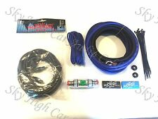 Oversized 8 Ga AWG Amp Kit w Twisted RCA BLUE Black Complete Sky High Car Audio