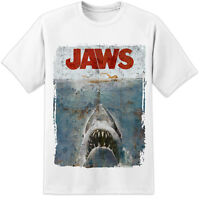 JAWS DISTRESSED SPIELBERG RETRO MOVIE POSTER T SHIRT - HUGE PRINT! (S -3XL)