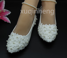 flat/3cm White lace Wedding shoes pearls ankle trap Bridal flats low size UK2-9