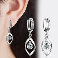 Women's Hot Elegant 925 Sterling Silver CZ Cubic Zircon Dangle Hoop Earrings