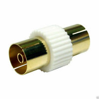 TV Freeview RF Aerial Cable Joiner Female to Female Coupler GOLD White