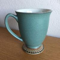 "Luxor by Denby/Langley Tan Teal Green Brn Geomet Rim Footed Coffee Mug  4 1/4"""