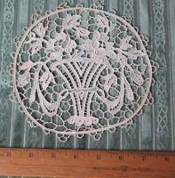"Antique c1900 French Point de Venise Handmade Lace~6 1/2"" Round~Baskets,Roses"