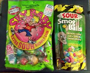 TOXIC WASTE SOUR SMOG BALLS & CRY BABY EXTRA SOUR GUMBALLS
