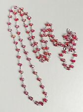 Long Red crystal glass aurora borealis necklace .. flapper AB bead silver tone