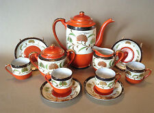 Deco Tea Set With 4 Demitasse Cups And Saucers - Hand Painted Deep Orange Japan