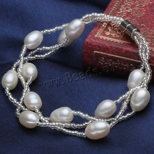 Natural 6-7mm Rice Freshwater Cultured Pearl Lobster Clasp Bracelet Bangle