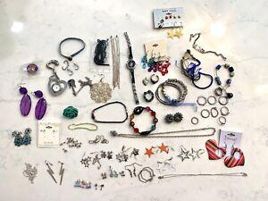 Huge Lot 50 Pieces Costume Jewelry - Bracelet, Necklace, Earrings