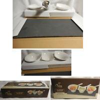 NIB PALM RESTAURANT 7 pc Appetizer Serving Set 3 Bowls 3 Spoons Slate Tray