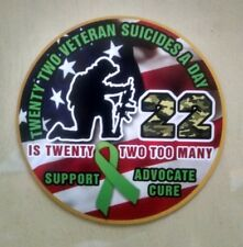 "Veteran Suicide Awareness 22 A Day Support Advocate Decal (4"")"