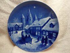 "Vintage Royal Blue Winter Plate ""Midnight Mass At Kalundborg Church"" 1970 Ed."