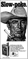 1967 Cowboy Bull Durham cigarettes Slow-poke The Bull vintage art print ad  S2