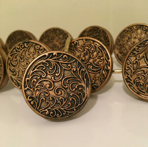 """Bronze Gold Scroll Embossed Round Shower Curtain Hooks 1.5"""" Disks Set of 12"""