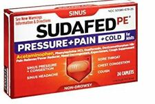 (3 Pack) Sudafed PE Pressure Plus Pain Cold Caplet 24 ct  300450582249DT