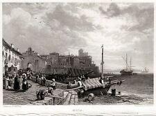 MOLA DI GAETA: FORMIA.Terra di Lavoro.Regno di Napoli.ACCIAIO.Stampa Antica.1832