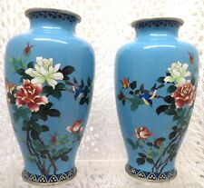 Japanese Cloisonne Enamel Floral Vases From The Late Meiji Period