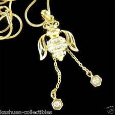w Swarovski Crystal GP Honey Bumble BEE Keeper beetle honeycomb Pendant Necklace