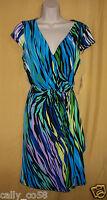 Sangria women's multi blue purple black green stretch dress blouson top 8 10 $89