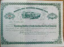 Lynchburg, Halifax & North Carolina Railroad Co. 1880 Stock Certificate - NC/VA
