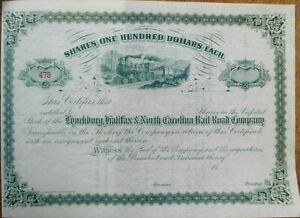 Lynchburg, Halifax & North Carolina Railroad Co. 1880 Stock Certificate - NC/VA