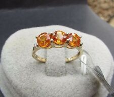 2.29 cts Genuine Spessarite Garnet Triology Size 7 Ring 10k Yellow Gold