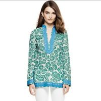 Tory Burch Signature Teal Floral Tunic SZ 0