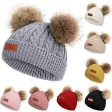 Girl Boys Warm Winter Knit Beanie Faux Fur Double Pom Pom Hat Crochet Cute Cap