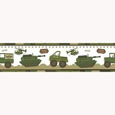 ARMY CAMP WALLPAPER BORDERS A12804 TANK CAMOUFLAGE ROOM DECOR
