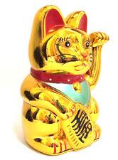 "LARGE Feng Shui GOLD BECKONING CAT Wealth Lucky Waving Kitty Maneki Neko 6"" Tall"